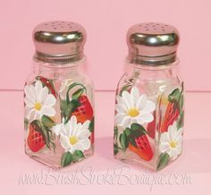 Hand Painted Salt & Pepper Shakers by BrushStrokeBoutique on Etsy