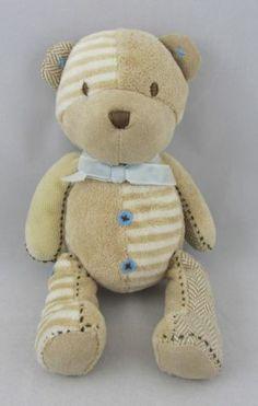 Carters Tan and White Stuffed Plush Animal Bear with Brown Stitching | eBay