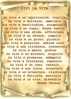 Life In Italian, Maria Teresa, Love You Images, Italian Quotes, Learning Italian, Mother Teresa, Life Is An Adventure, Inspire Me, Decir No
