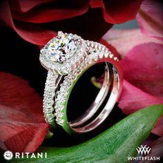 Ritani French Set Cushion Halo Diamond Band Engagement Ring with Petite Diamond Wedding Ring.