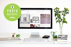 ★ green ★ 6 iMac photo mockups