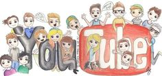 All my favourite youtubers in one cartoon adorable drawing ❤