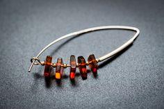 Modern Amber earrings Beautiful Sterling 925 by BalticBeauty925
