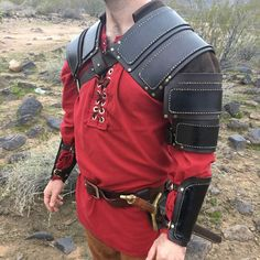 Ever wonder what our armor looks like in person? Here's a shot of our full leather shoulder pauldron, and our leather bracers. Head over to our shop for more photos!