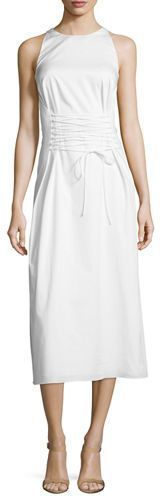 The Row Lao Sateen Tie-Waist Midi Dress