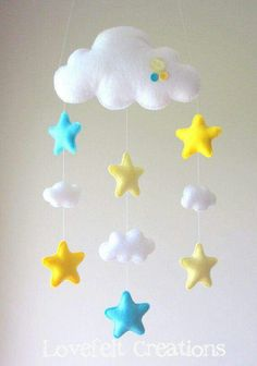 Baby mobile – Stars mobile – Cloud Mobile – Baby Mobile Cloud Stars – My All Pin Page Star Mobile, Felt Mobile, Cloud Mobile, Baby Crafts, Felt Crafts, Diy And Crafts, Craft Projects, Sewing Projects, Projects To Try