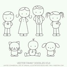 Family Doodles Digital Stamps Clipart Clip Art by MissTiina Doodle Art, Doodle Drawings, Cartoon Drawings, Easy Drawings, Easy People Drawings, Drawing Lessons, Art Lessons, Drawing Tips, Zentangle