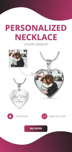 Create the perfect necklace with a personalized photo of your loved ones, friends, or even pets - to create a truly unique piece of jewelry.  There's also a option to make it really unique, by engraving onto the back of the pendant your loved one's name, a special date, or anything else you want to remember and keep you close to their heart.   #fashion #love #daughter #mom #necklace #beauty #personalized #heart #luxury #handmade #inlove #gift #girlfriend #lifestyle #cute All Gifts, Gifts For Her, Unique Gifts, Working Mother, Working Moms, Glass Coating, Holiday Jewelry, Personalized Necklace, Custom Engraving