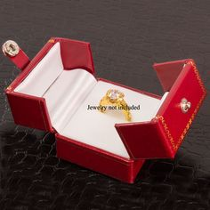 Red White Ring Box Small Wedding Rings Engament Storage Jewelry Box Gift Womens  #Unbranded