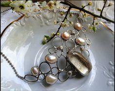 cultured pearls, crystal quartz, silver tone brass