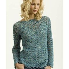 Ladies' sweater Crochet Pattern by S. Charles Collezione (free pattern but requires that you sign up)