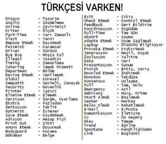 Turkish and Turklish (or loans from other languages) Learn English Words, English Lessons, Vocabulary Words, English Vocabulary, Turkish Lessons, Learn Turkish Language, Grammar Tips, Education English, Book Quotes