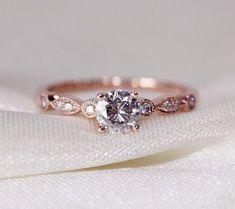 Fancy VS Moissanite Ring VS Accent Diamonds 14K Rose Gold Engagement Ring /Wedding Ring/ Promise Ring