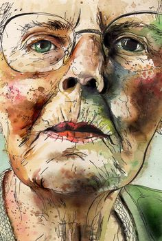 Old lady watercolor intent georgina luck, water colour portrait. I love the way colors are used! Watercolor Portraits, Watercolor And Ink, Watercolor Paintings, Watercolours, Life Drawing, Painting & Drawing, Georgina Luck, Guache, Inspiration Art