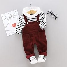 Overalls are BACK! This is such an adorable 2 piece set to pass up! Comes in 3 color options of tan, gray, and a deep red. Set comes with cotton striped long sleeve hoodie. Boys Summer Outfits, Summer Boy, Toddler Boy Outfits, Baby Outfits Newborn, Toddler Fashion, Kids Outfits, Toddler Boys, Kids Boys, Baby Boys