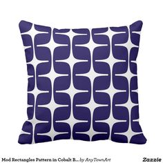 Mod Rectangles Pattern in Cobalt Blue and White Throw Pillow
