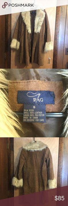Rag Vintage Suede Coat Gorgeous Rag Vintage Suede Coat with Faux Fur Collar  Wear and Flaws Shown in Pictures Rag Jackets & Coats