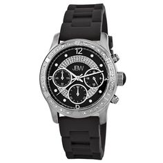 "awesome JBW Women's JB-6243-A ""Venus"" Sport Silver Black Designer Silicone Diamond Watch  –  Prosociate"