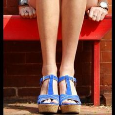 I just discovered this while shopping on Poshmark: Blue suede sandal. Check it out!  Size: 7