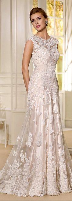 Fabulous Tulle & Satin Bateau Neckline Sheath Wedding Dresses With Beaded Lace Appliques