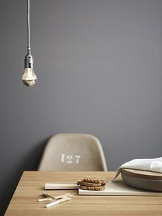 Grey paint from Jotun's collection. Love grey paint, pale wood and industrial fixtures!