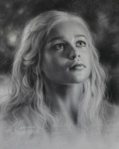 Drawing Emilia Clarke is looking up by Dry Brush by Drawing-Portraits.deviantart.com on @DeviantArt