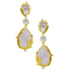 Laurie Kaiser Lemongrass Triple Drop Earrings in rainbow moonstones, white diamonds and 18k yellow gold. www.lauriekaiser.com