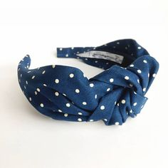 e4e8d2ca48e Blue polka dot Top knot headband dotted adult 40 s vintage style turban  hairband hair accessories n