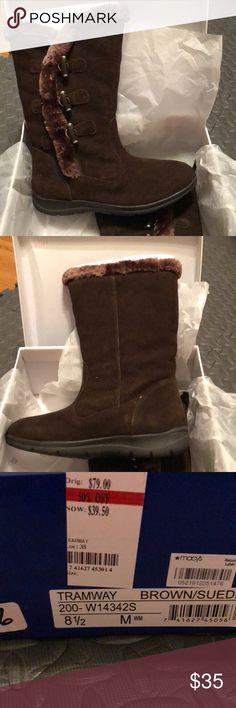 Brown Suede Boots White Mountain Brown Suede Tramway Boot. NWT. Still in box. Never worn. Size 8 1/2 M. Suede boot with fur lining. Very comfortable and warm. Own in another color, just never wore the chocolate brown. White Mountain Shoes Winter & Rain Boots