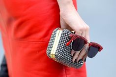#red Street style   Great sunnies and clutch