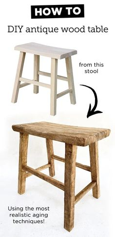 Diy Stool, Wood Stool, Wood Chairs, Wood Tables, Dining Tables, Diy Furniture Projects, Furniture Makeover, Building Furniture, Furniture Design