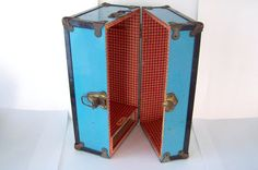 Vintage 1950s CASS Doll Trunk Blue and Red by LizzieTishVintage, $35.00