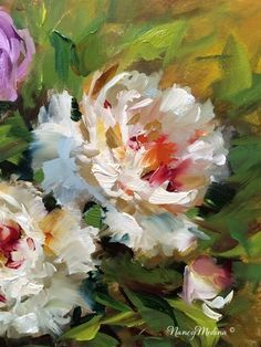 "Vintage French Soul ~ Daily Paintworks - ""Peonies in Bloom - Flower Paintings by Nancy Medina"" - Original Fine Art for Sale - © Nancy Medina Acrylic Flowers, Oil Painting Flowers, Abstract Flowers, Flower Paintings, Painting Art, Encaustic Painting, Painting Lessons, Paintings I Love, Beautiful Paintings"