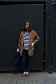 brown blazer/just oversized blazer   as well as more striped tops?
