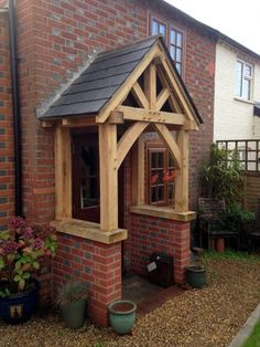 Affordable oak design for home & garden, bespoke oak garden buildings, structures and rustic furniture in the heart of Kent Cottage Front Doors, Front Door Porch, Cottage Porch, Front Porch Design, House With Porch, House Front, Door Canopy Porch, Porch With Canopy, Porch Timber