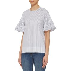 Indulge in chic and contemporary urban design with this Frill Sleeve Stripe Top from Victoria by Victoria Beckham. Highlighting a stripe design in complementary hues of navy and white, the top is accented with a round neck, while the sleeves feature frill details for an especially luxe touch. Cotton-made, it showcases the brands penchant for clean cuts and simple lines. Great with cropped denim and trainers for an ideal off-duty look.
