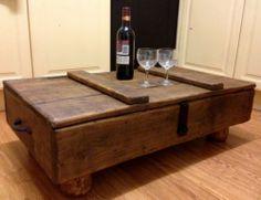 shabby rustic wooden waxed jacobean oak blanket box chest coffee