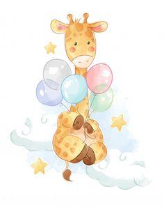 Balloon Illustration, Cute Illustration, Watercolor Illustration, Giraffe Illustration, Watercolor Artists, Watercolor Painting, Baby Animal Drawings, Cute Drawings, Scrapbook Bebe