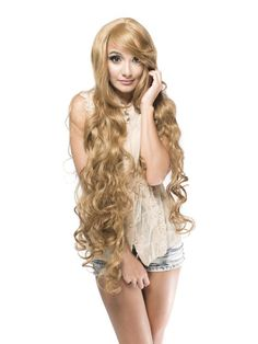 Extra Long Light Brown Fluffy Wavy Synthetic Wig$63.99