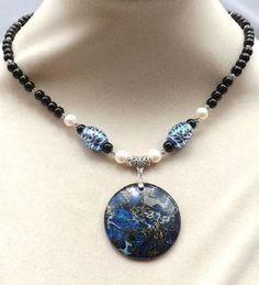 Blue Emperor Jasper gemstone pendant,black Onyx,carved beads,Pearls necklace #Pendant