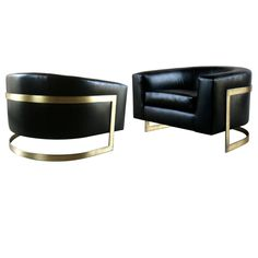 1stdibs - Pair Of Huge Milo Baughman Bronze Cantilevered Barrel Chairs explore items from 1,700  global dealers at 1stdibs.com
