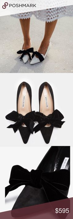 a5cf734ef22 Manolo Blahnik💞Serba Leather🎀Bow🎀Pumps 38.5 Parisian chic black suede  leather Serba pointy toe court shoes featuring an oversized black velvet  self-tying ...