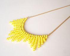 Yellow Necklace, Beaded Necklace, Yellow, Everyday Necklace, Romantic Necklace, Feminine Jewelry, Everyday Jewelry, Simple Necklace, Modern