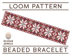 Christmas Nordic Pattern  Loom Beading Bracelet  por ScarabJewels
