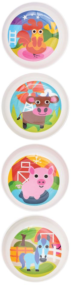 French Bull FARM COLLECTION: melamine,  kids bowls, BPA-free, kid friendly tableware, safe indoors and outdoors, scratch and shatter resistance, dishwasher safe, Pig, Rooster, Horse, Cow