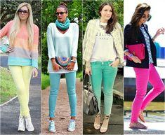 Calça colorida.