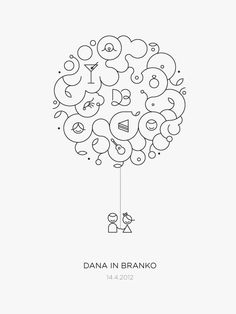 Line icons, wedding announcement, design, different icons and elements combined