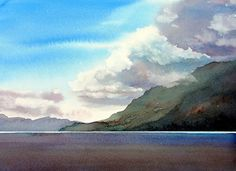 """CHANNEL by Enda Bardell Watercolour ~ 16"""" x 20"""" framed"""
