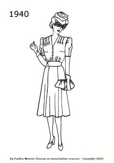 Fashion Silhouette Dress Drawing 1940.  Make the hat, hair.  Shoulders were key.