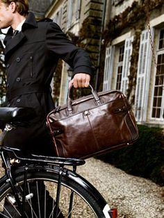 Dark Leather Man Bag
